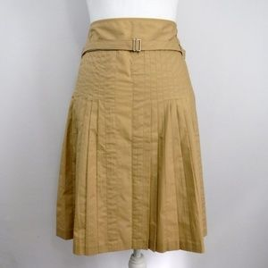 Ann Taylor Loft Tan Accordian Pleat Skirt Size 12